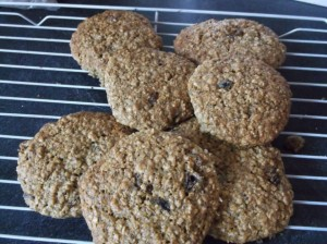 Chewy oat and fruit biscuits recipes  My name is Roz but lots call me Rosie.  Welcome to Rosies Home Kitchen.  I moved from the UK to France in 2005, gave up my business and with my husband, Paul, and two sons converted a small cottage in rural Brittany to our home   Half Acre Farm.  It was here after years of ready meals and take aways in the UK I realised that I could cook. Paul also learned he could grow vegetables and plant fruit trees; we also keep our own poultry for meat and eggs. Shortly after finishing the work on our house we was featured in a magazine called Breton and since then Ive been featured in a few magazines for my food.  My two sons now have their own families but live near by and Im now the proud grandmother of two little boys. Both of my daughter in laws are both great cooks.  My cooking is home cooking, but often with a French twist, my videos are not there to impress but inspire, So many people say that they cant cook, but we all can, you just got to give it a go.