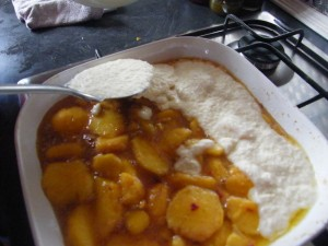 Nectarine Cobbler recipes  My name is Roz but lots call me Rosie.  Welcome to Rosies Home Kitchen.  I moved from the UK to France in 2005, gave up my business and with my husband, Paul, and two sons converted a small cottage in rural Brittany to our home   Half Acre Farm.  It was here after years of ready meals and take aways in the UK I realised that I could cook. Paul also learned he could grow vegetables and plant fruit trees; we also keep our own poultry for meat and eggs. Shortly after finishing the work on our house we was featured in a magazine called Breton and since then Ive been featured in a few magazines for my food.  My two sons now have their own families but live near by and Im now the proud grandmother of two little boys. Both of my daughter in laws are both great cooks.  My cooking is home cooking, but often with a French twist, my videos are not there to impress but inspire, So many people say that they cant cook, but we all can, you just got to give it a go.