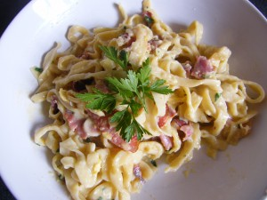 Carbonara recipes  My name is Roz but lots call me Rosie.  Welcome to Rosies Home Kitchen.  I moved from the UK to France in 2005, gave up my business and with my husband, Paul, and two sons converted a small cottage in rural Brittany to our home   Half Acre Farm.  It was here after years of ready meals and take aways in the UK I realised that I could cook. Paul also learned he could grow vegetables and plant fruit trees; we also keep our own poultry for meat and eggs. Shortly after finishing the work on our house we was featured in a magazine called Breton and since then Ive been featured in a few magazines for my food.  My two sons now have their own families but live near by and Im now the proud grandmother of two little boys. Both of my daughter in laws are both great cooks.  My cooking is home cooking, but often with a French twist, my videos are not there to impress but inspire, So many people say that they cant cook, but we all can, you just got to give it a go.