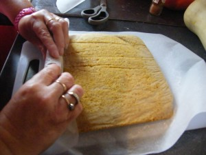 Pumpkin (Swiss)Roll recipes  My name is Roz but lots call me Rosie.  Welcome to Rosies Home Kitchen.  I moved from the UK to France in 2005, gave up my business and with my husband, Paul, and two sons converted a small cottage in rural Brittany to our home   Half Acre Farm.  It was here after years of ready meals and take aways in the UK I realised that I could cook. Paul also learned he could grow vegetables and plant fruit trees; we also keep our own poultry for meat and eggs. Shortly after finishing the work on our house we was featured in a magazine called Breton and since then Ive been featured in a few magazines for my food.  My two sons now have their own families but live near by and Im now the proud grandmother of two little boys. Both of my daughter in laws are both great cooks.  My cooking is home cooking, but often with a French twist, my videos are not there to impress but inspire, So many people say that they cant cook, but we all can, you just got to give it a go.